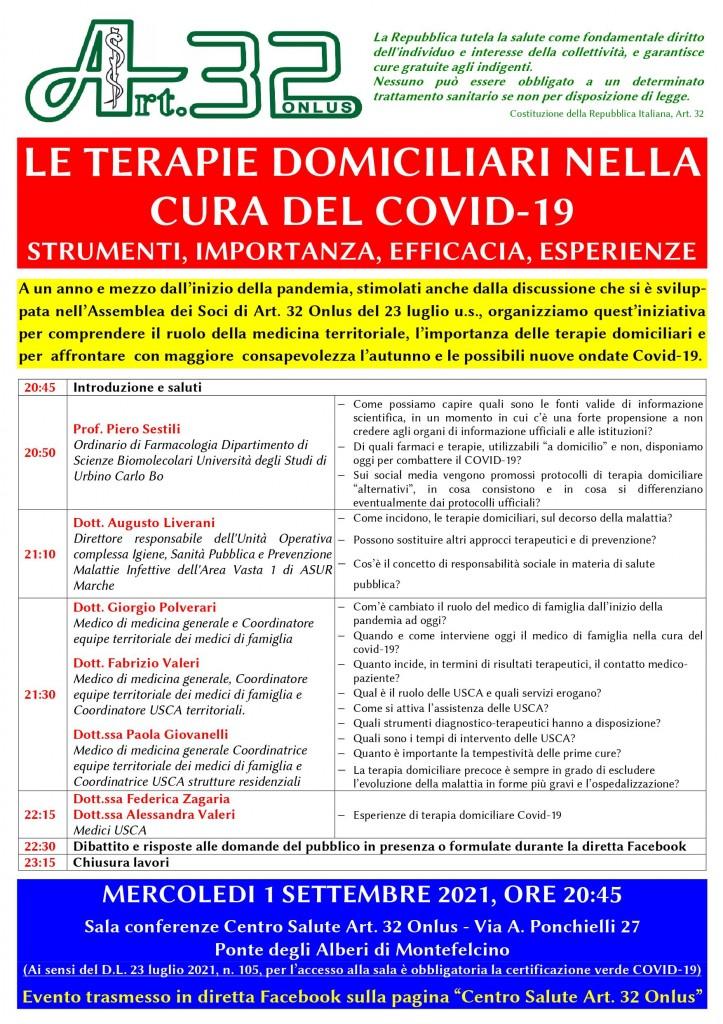LE TERAPIE DOMICILIARI NELLA CURA DEL COVID19-CENTRO SALUTE ART 32 ONLUS
